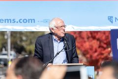 RENO, NV - October 25, 2018 - Bernie Sanders sticking tongue out stock images