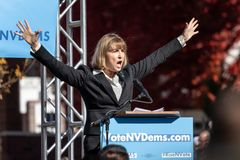 RENO, NV - October 25, 2018 - Kate Marshall with arms open yelli stock photo