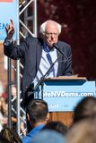 RENO, NV - October 25, 2018 - Vertical photo of Bernie Sanders p. Vertical photo of Bernie Sanders pointing at a political rally on the UNR campus royalty free stock photo