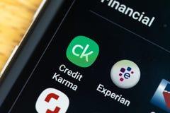 RENO, NV - Styczeń 16, 2019: Kredytowy karmy Android App na galaktyka ekranie Kredytowa karma używa sprawdzać kredytowego wynika obrazy royalty free