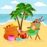 Reno relajado de la historieta que descansa cerca del mar con el bolso de regalos ilustración del vector