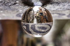 Reno river in Bologna  in a crystal ball Royalty Free Stock Photography