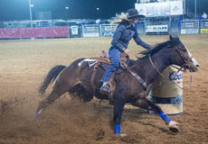 Reno Rodeo. LOGANDALE , NEVADA - APRIL 10 : Cowgirl Participating in a Barrel racing competition in the Clark County Fair and Rodeo a Professional Rodeo held in Stock Photos