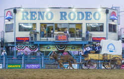 Reno Rodeo. RENO , USA - JUNE 30 : Mule-drawn wagon Participate at the Reno Rodeo a Professional Rodeo held in Reno Nevada , USA on June 30 2013 Stock Image