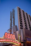 Reno Sign Beside Giant Rock Climbing Wall Royalty Free Stock Photography