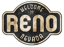 Reno Street Sign Vintage. Reno Nevada Welcome Street Sign Vintage Rustic Logo Art Metal Tin Old Antique Hot August Nights royalty free stock photography