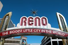Reno welcome sign. In Reno, Nevada. The biggest little city in the world Stock Image