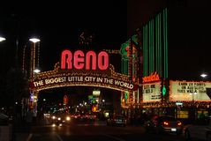 Reno Welcome Sign at Night Stock Images