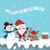 Reno y muñeco de nieve de Papá Noel de la amistad en el top del tejado ilustración del vector