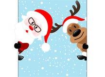 Reno y Santa Claus Diagonal Banner en fondo azul de la nieve, libre illustration