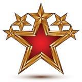 Renommeevektoremblem mit fünf bezaubernden goldenen Sternen, pentag 3d lizenzfreie abbildung