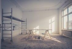 Renovação home - sala durante a renovação - restauração foto de stock royalty free