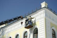 Renovación de la fachada de la casa Imagenes de archivo