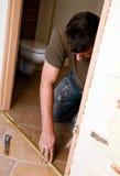 Renovación de la puerta del cuarto de baño Fotografía de archivo