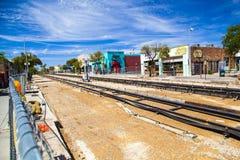 Renovación del tranvía céntrica Imagen de archivo libre de regalías