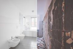 Renovación tejada del cuarto de baño - antes y después de la restauración imagen de archivo libre de regalías