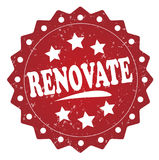 Renovate grunge label, sticker. Renovate red label, sticker isolated on white background Stock Photography