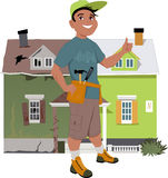 Renovate a house. Smiling man giving a thumb up in front of a house, shown before and after renovation, vector illustration, no transparencies Stock Image