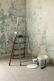 Renovate. Renovating home,empty room with ladder Royalty Free Stock Images