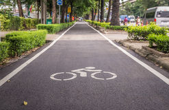 The renovated bike lane which along Ram Indra expressway Stock Image