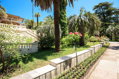 Renovated building of Hope villa in the arboretum of Sochi, Russia. Sochi, Russia - June 08, 2015: Shady alley in the arboretum of Sochi, Russia, summer day Royalty Free Stock Photos