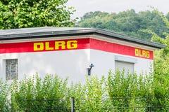Renovated DLRG station at Baldeneysee stock photos