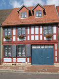 Renovated half-timbered house. In Roebel, Mecklenburg-Western Pomerania, Germany royalty free stock photo