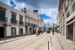Renovated historic street in Tavira Stock Photo