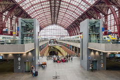 Renovated interior of famous Antwerp main station, Belgium Stock Photo