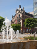 Renovated main square in Katowice is the venue for exhibitions a royalty free stock photo
