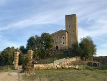 Renovated medieval castle in Tuscany. Renovated medieval castle near Volterra in Tuscany, Italy Royalty Free Stock Photo