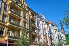 Renovated old apartment houses. At the Prenzlauer Berg district in Berlin stock photography