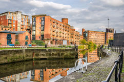 Renovated Old Warehouse on a River Stock Photo