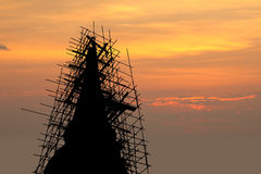 Renovated pagoda silhouette Stock Photography