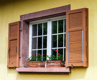 Renovated pvc windows in old village house Royalty Free Stock Image