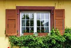 Renovated pvc windows in old village house Royalty Free Stock Photography