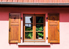 Renovated pvc windows in old village house Stock Photo