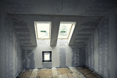 Renovated room in the attic Stock Image