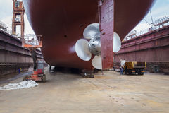 Renovated ship in dry dock Stock Images