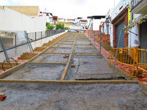 Renovated Street waiting for Concrete Stock Photo