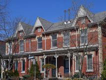 Victorian row houses with gables Royalty Free Stock Images