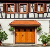 Renovated wooden garage doors Stock Photo