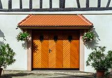 Renovated wooden garage doors Stock Photography