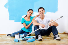 Renovating couple portrait Stock Photos