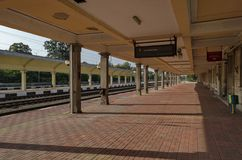 Renovating old station of railway, Ruse, Bulgaria. Renovating old station of railway and view in the platform for entrance and exit of electric train Ruse royalty free stock photo