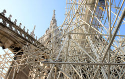 Renovating roof of Italian Duomo di Milano Stock Photo