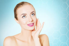 Renovating skin concpet. woman face portrait with lifting marks Royalty Free Stock Images