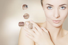 Renovating skin portrait of woman with graphic circles for prod Royalty Free Stock Photo