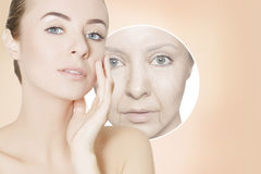 Renovating skin portrait of woman with graphic circles for prod Royalty Free Stock Image