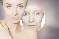 Renovating skin portrait of woman with graphic circles for prod Stock Image